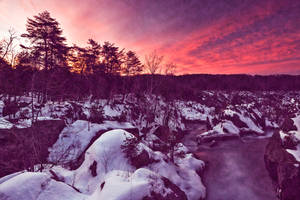 Great Falls Winter Twilight- Violet Velvet Fantasy by boldfrontiers