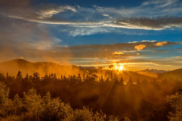 Misty Gold Mountain Sunset by boldfrontiers
