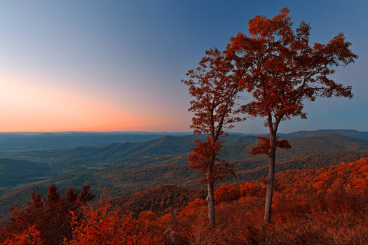 Shenandoah Twilight Overlook - Ruby Autumn by boldfrontiers