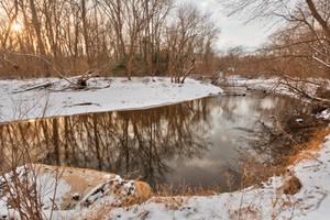 Golden Winter Hour of Rock Creek (freebie) by boldfrontiers