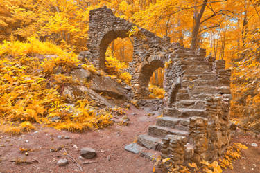 Gold Forest Castle Ruins by boldfrontiers