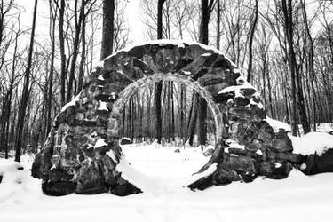 Winter Celtic Eye Trail - Black and White by boldfrontiers