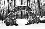 Winter Celtic Eye Trail - Black and White