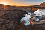 Kolufoss Sunset Waterfall by boldfrontiers
