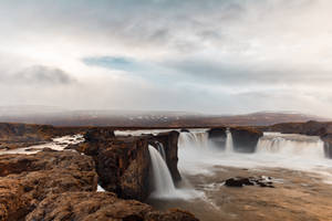 Cloudy Godafoss by boldfrontiers