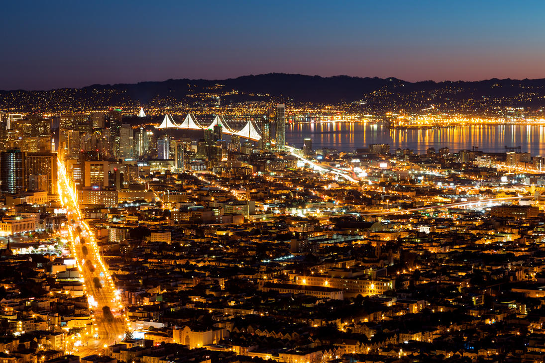 San Francisco Dawn Lights by somadjinn