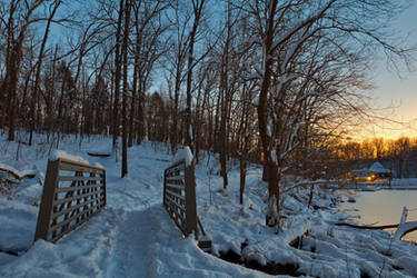Winter Twilight Trail Bridge - Lake Needwood by boldfrontiers
