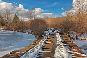 Rickety Winter Bridge - Canaan Valley by boldfrontiers