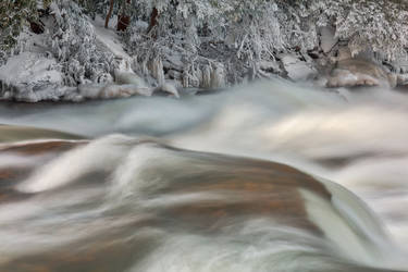 Shimmering Winter Stream - Swallow Falls by boldfrontiers