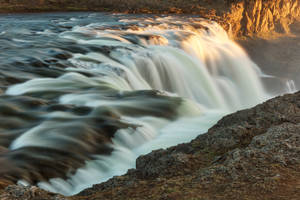 Golden Hour Waterfall - Kolufoss by boldfrontiers