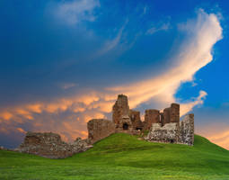 Duffus Castle Sunset by boldfrontiers