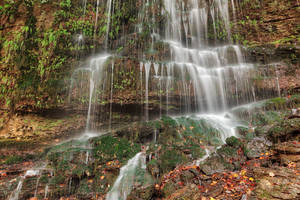 Autumn Moss Wall Waterfall by boldfrontiers