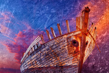 Akranes Shipwreck - Vibrant Grunge Fantasy by boldfrontiers