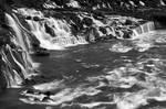 Hraunfossar River Cascades - Black and White