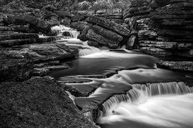 Rugged Caney Fork Cascades - Black and White