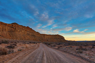 Twilight Desert Road - Cathedral Valley