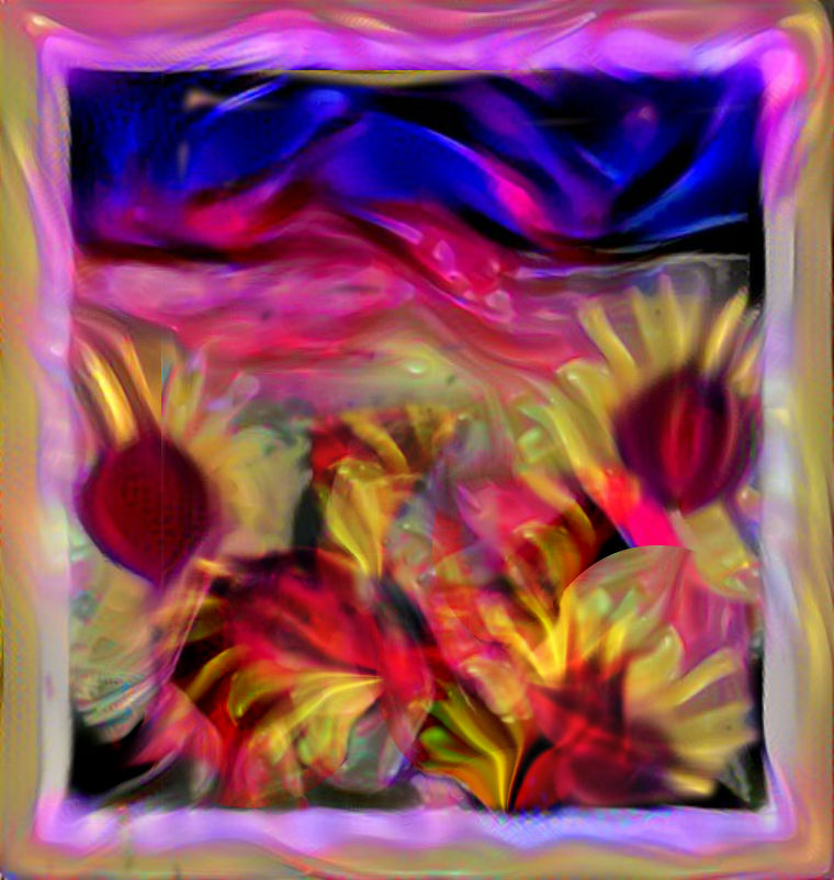 Stained glass window with flowers by Mladavid