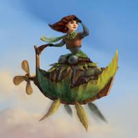 Autumn Girl Flying a Leaf