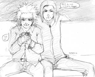 Tweek and Craig on a couch by soltian