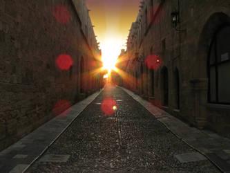 Sunset in alley by BillyNikoll