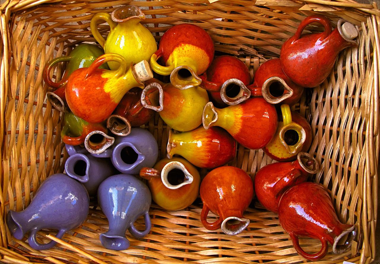 Glazed Ceramic Pitchers in Wicker Basket by BillyNikoll