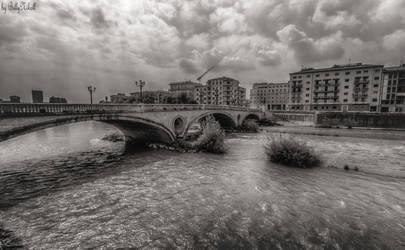 Old Bridge In Verona Over Adige River I by BillyNikoll
