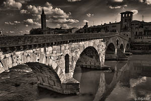Old Bridge In Verona Over Adige River II by BillyNikoll