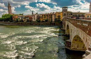 Old Bridge In Verona Over Adige River IV by BillyNikoll
