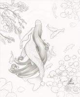 Koi Mermaid Pencils by JillJohansen