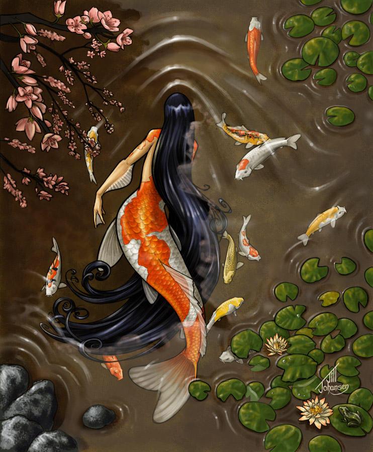 Koi mermaid by jilljohansen on deviantart for Koi japanese art