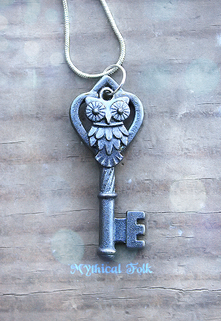 Blue Pewter Owl Key by MythicalFolk