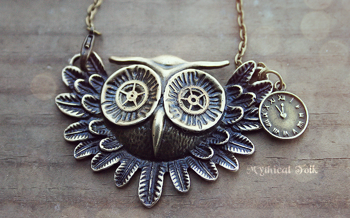 Steampunk Owl Head by MythicalFolk