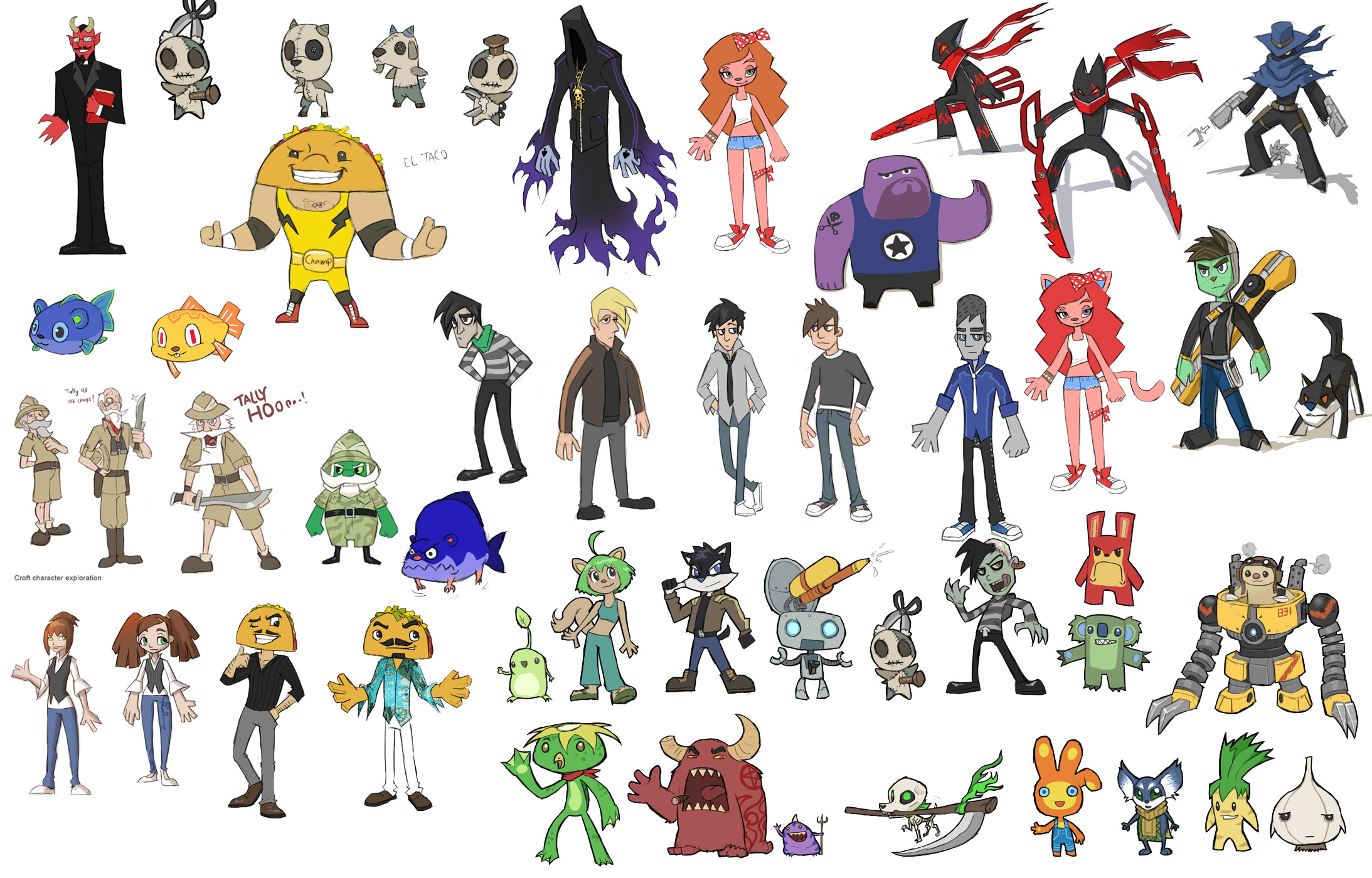 buncha characters sketch by thevampiredio