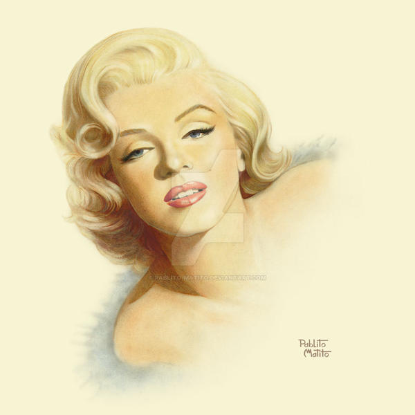 Marilyn Diagonal Portrait by Pablito-Matito