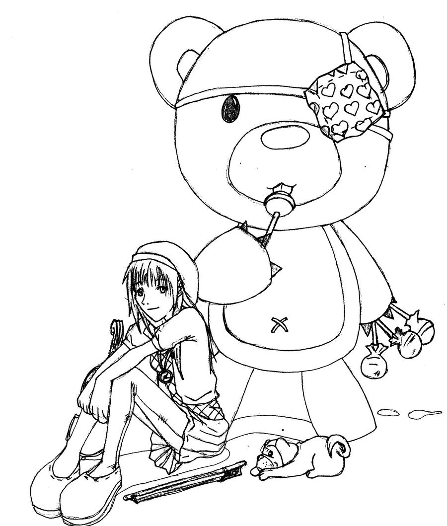 Line Art Bear : Violen and teddy bear line art by puppygrrl on deviantart