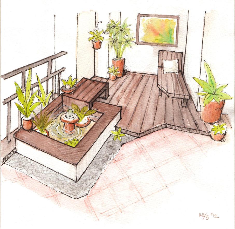 garden in apartment balcony by mondoart on deviantart