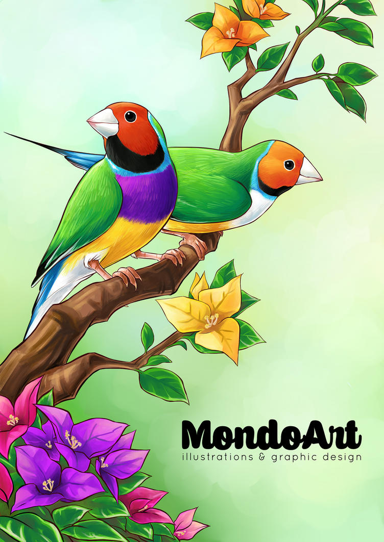 Gouldian Finch and Bouganville by MondoArt