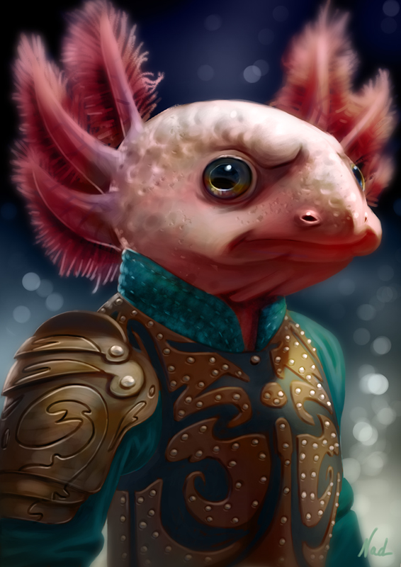 Axolotl warrior by kinkajoomotion