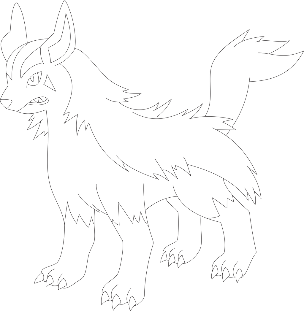 Lineart Of Mightyena By InuKawaiiLover
