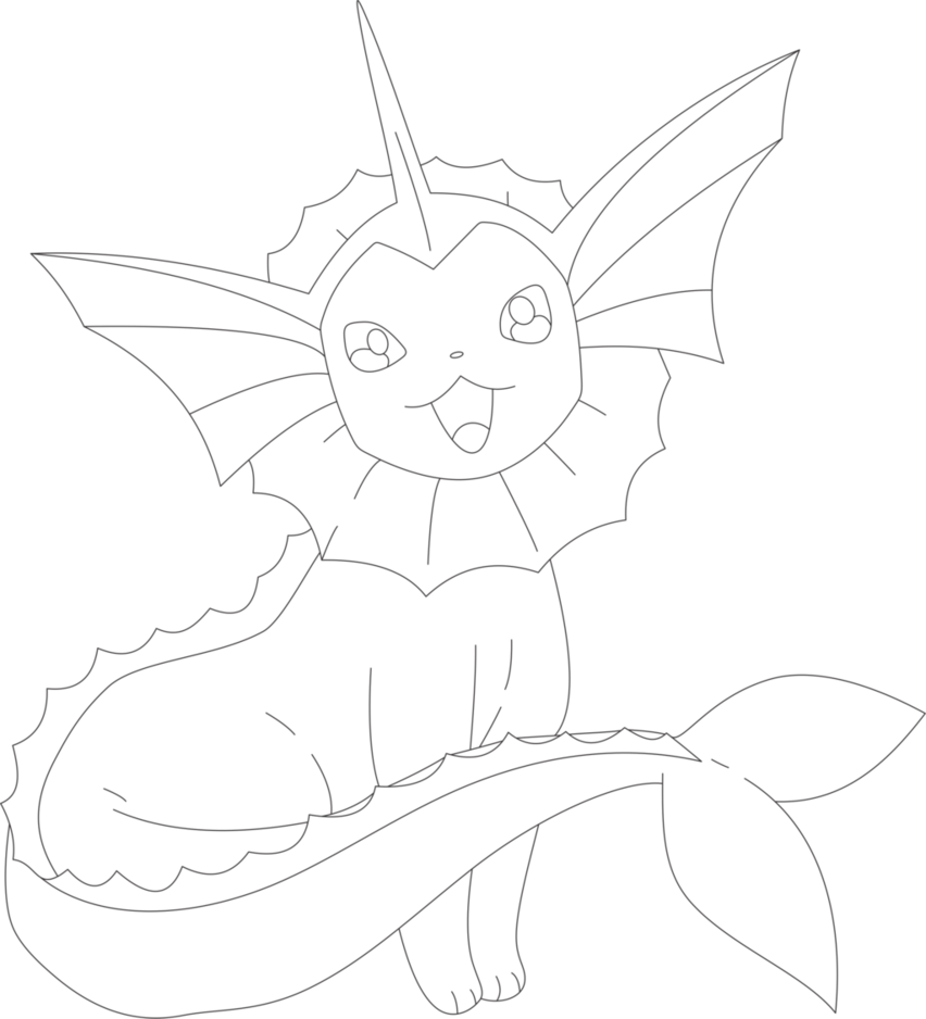 Lineart Of Vaporeon By InuKawaiiLover