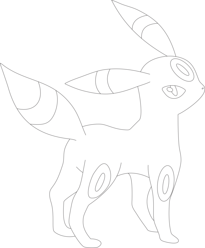 Lineart Of Umbreon By InuKawaiiLover