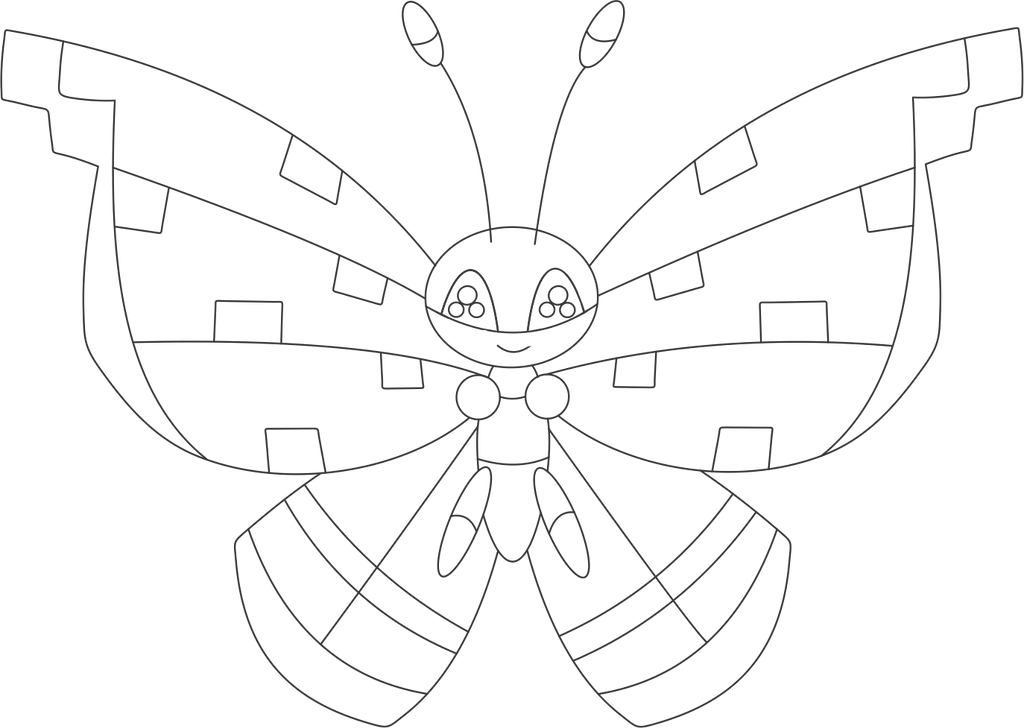 Lineart Of Vivillon With The Tundra Pattern By