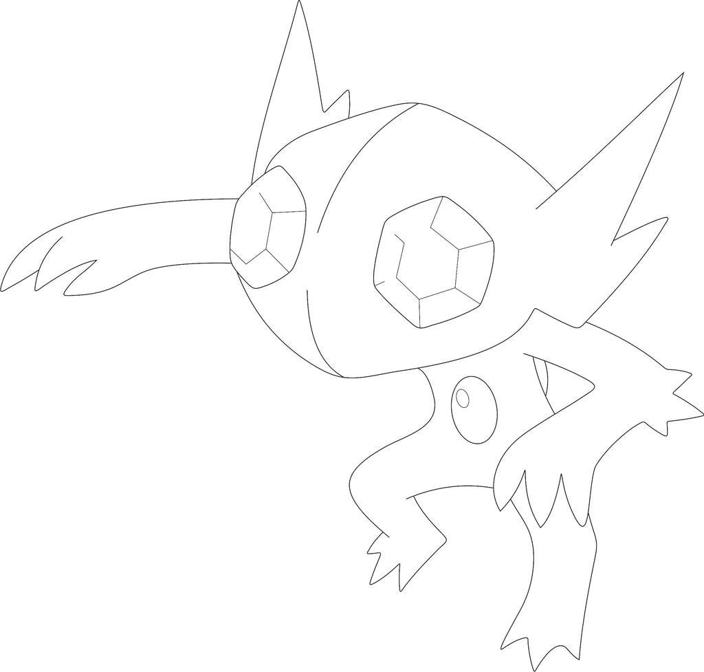 lineart of sableye by inukawaiilover on deviantart