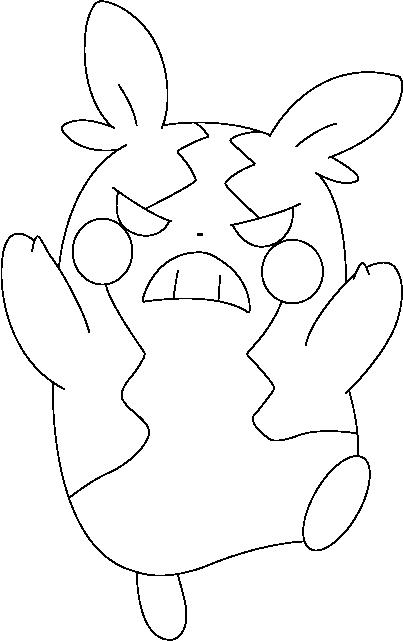 Lineart of Morpeko in Hangry Mode