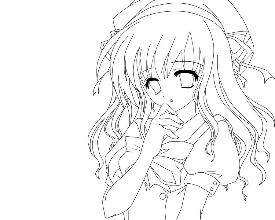 Anime Girl Lineart Color Me by HelpfulWolf on DeviantArt