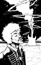 Jimi Hendrix BW by sumeyyekesgin