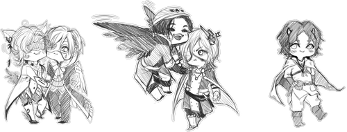 TWO Euro Chibi Commissions No eins by ymstr