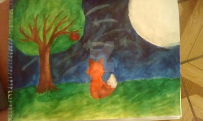Fox at night(Watercolor) by XimmishyXY