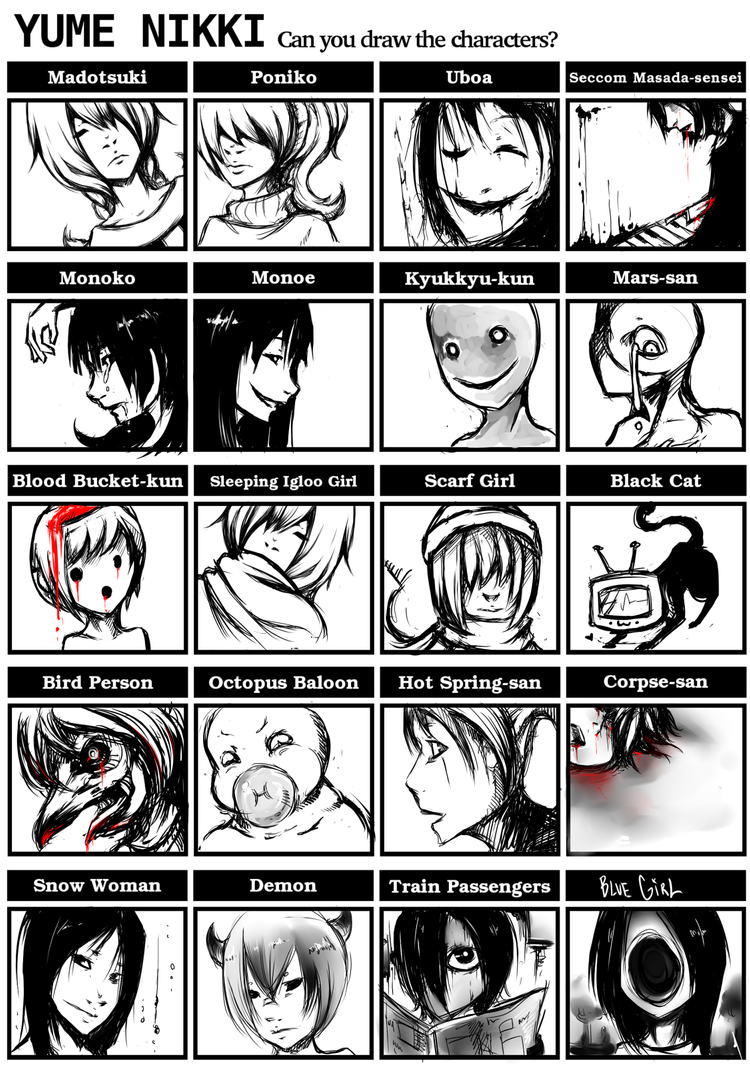 Yume Nikki Character Meme by DragonsDwelling