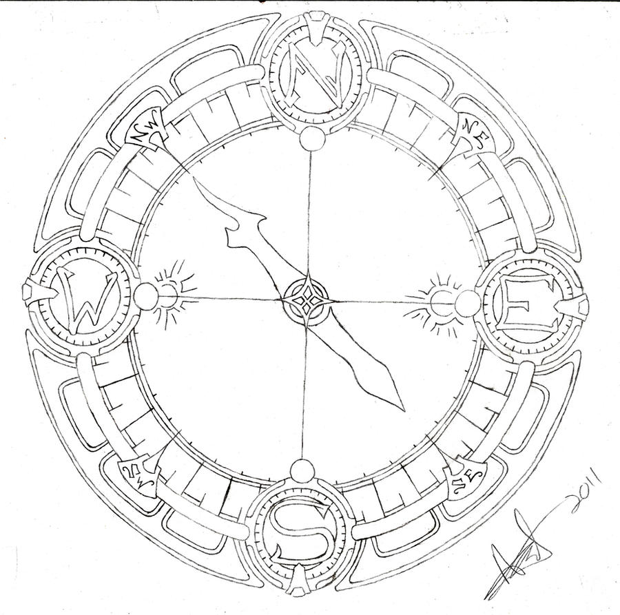 Compass Tattoo Line Drawing : Compass line art by shurumitattoomi on deviantart